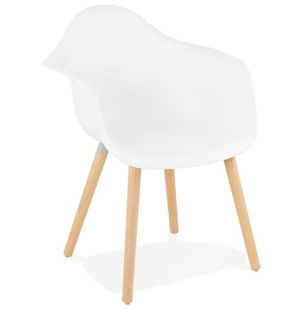 Chaise avec accoudoirs 'OLIVIA' blanche style scandinave