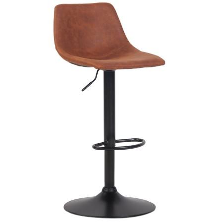 Tabouret réglable design 'OMALET' en microfibre brune et pied en métal noir