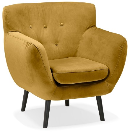 Fauteuil de salon 1 place 'OPERA MINI' en velours jaune moutarde