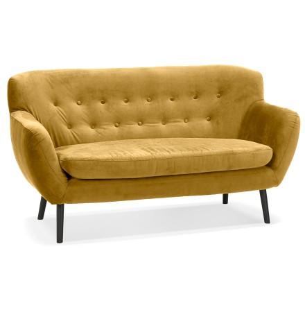 Canapé droit 2 places 'OPERA' en velours jaune moutarde