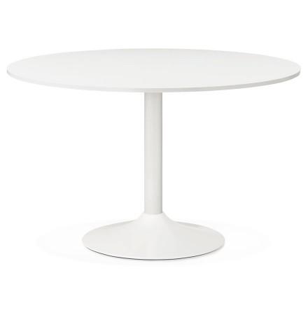 Table de bureau/à diner ronde ORLANDO blanche de 120 cm - Photo 1