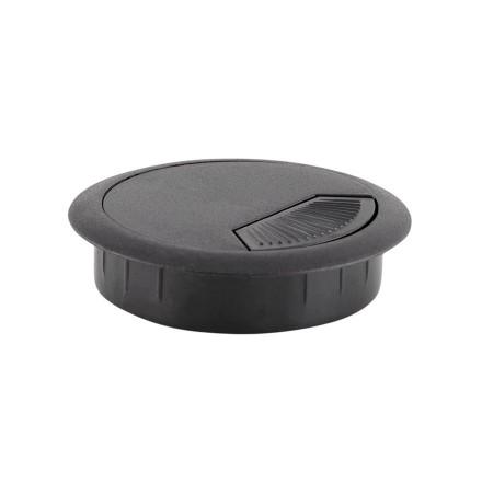 Passe-câbles 'ORGA' en matière plastique noire pour bureau