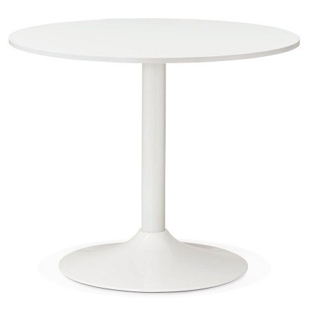 Petite table de bureau/à diner ronde ORLANDO blanche de 90 cm - Photo1