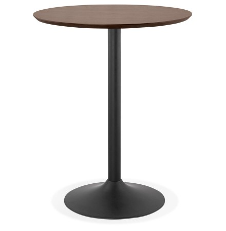 Mange-debout / table haute 'OSTERIA' en bois finition Noyer - Ø 90 cm