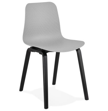 Chaise design 'PACIFIK' grise avec pieds en bois noir