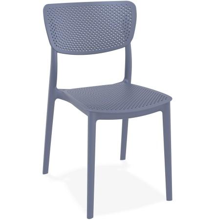 Chaise de terrasse perforée 'PALMA' en matière plastique gris foncé