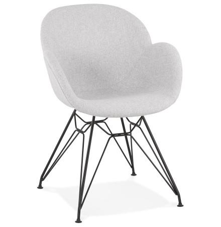 Chaise design 'PLANET' en tissu gris clair avec pieds en métal noir