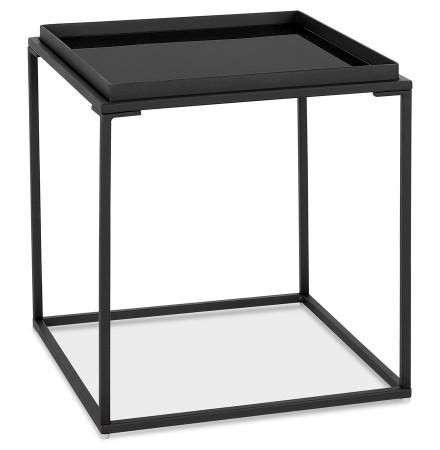Table basse d'appoint 'POKER MINI' noire avec plateau en verre peint
