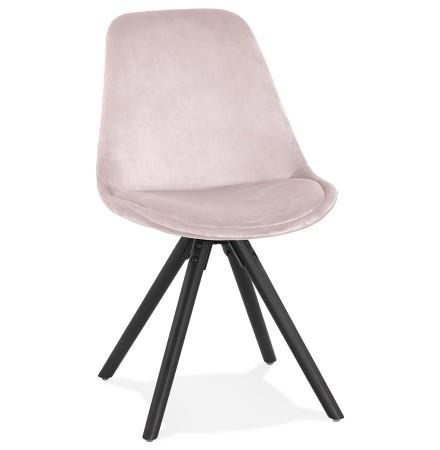 Chaise vintage 'RICKY' en velours rose et pieds en bois noir