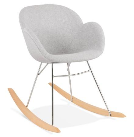 Chaise à bascule design 'ROCKY' grise claire en tissu