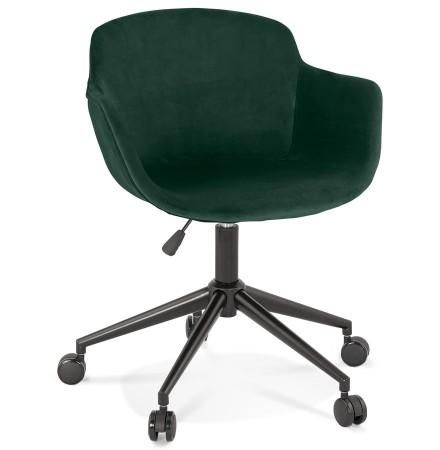 Chaise de bureau 'ROLLING' en velours vert sur roulettes