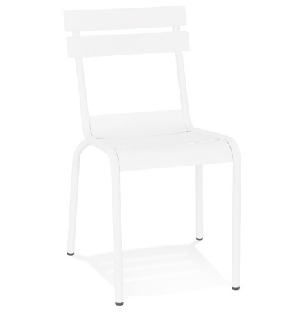 Chaise design 'ROMEO' en métal blanc empilable