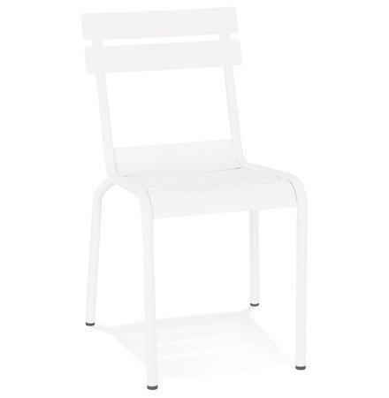 Chaise design 'ROMEO' en métal blanc empilable