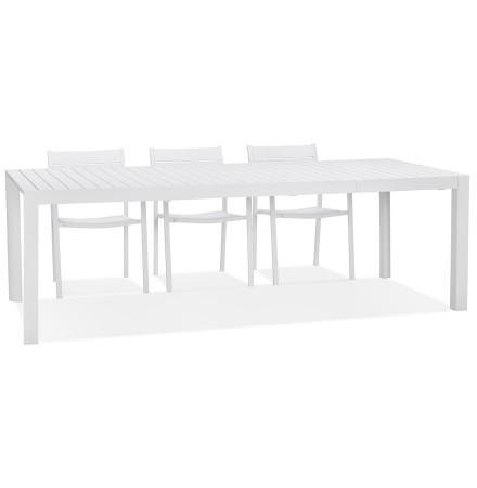 Table de jardin extensible 'SAMUI' en aluminium blanc mat - 180(240)x100 cm
