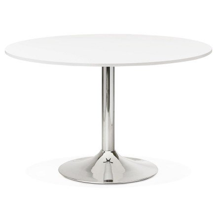 Table de bureau/à diner ronde SAOPOLO blanche 120 cm - Photo 1