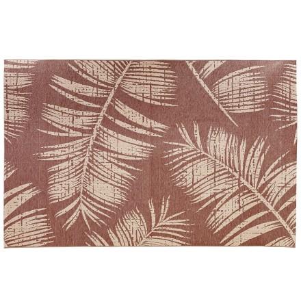 Tapis design 'SEQUOIA' 200x290 cm rouge-marron avec motifs feuilles de palmier - intérieur / extérieur