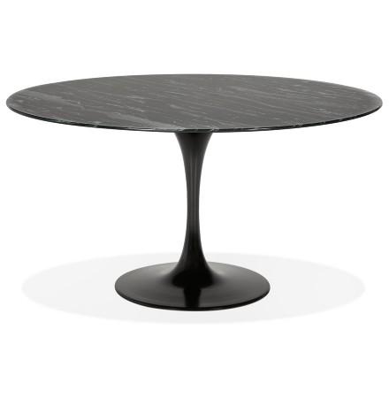Table à manger design 'SHADOW' ronde noire en verre effet marbre - Ø 140 CM