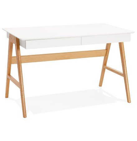 Bureau droit design SIROKO blanc style scandinave - Alterego