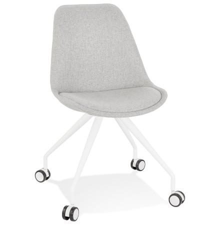 Chaise de bureau sur roulettes 'SNAP' en tissu gris avec structure en métal blanc