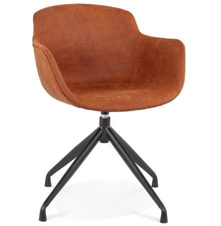 Chaise design avec accoudoirs 'SOUND' en microfibre brune