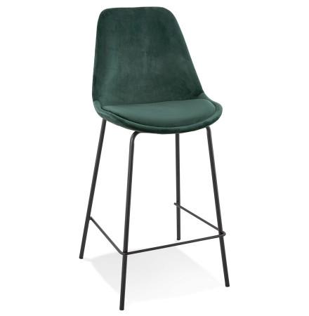 Tabouret snack mi-hauteur 'SPARK MINI' en velours vert et pieds en métal noir