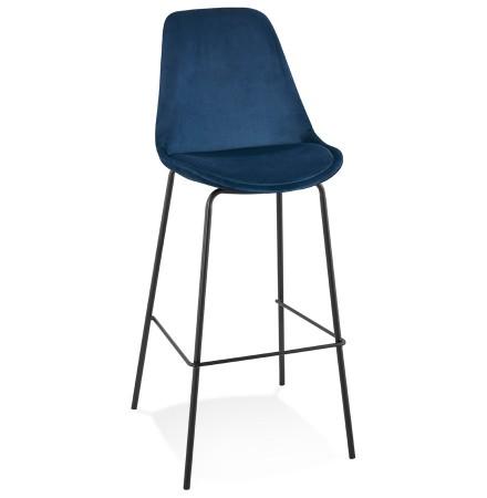 Tabouret de bar 'SPARK' en velours bleu et pieds en métal noir