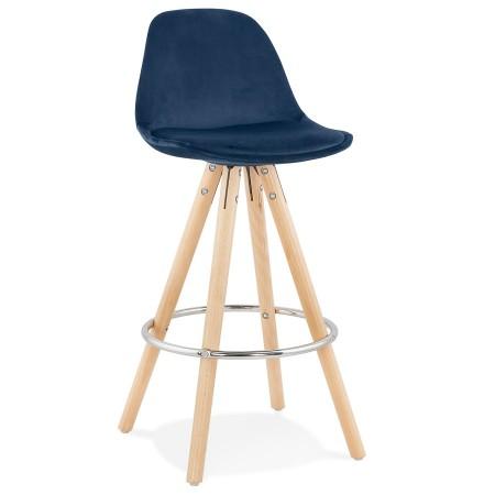 Tabouret snack mi-hauteur 'SPIRIT MINI' en velours bleu et pieds en bois naturel