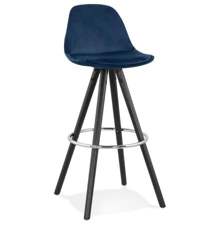 Tabouret de bar 'SPIRIT' en velours bleu et pieds en bois noir