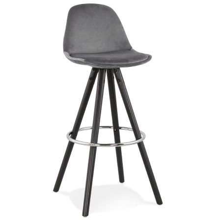 Tabouret de bar 'SPIRIT' en velours gris et pieds en bois noir