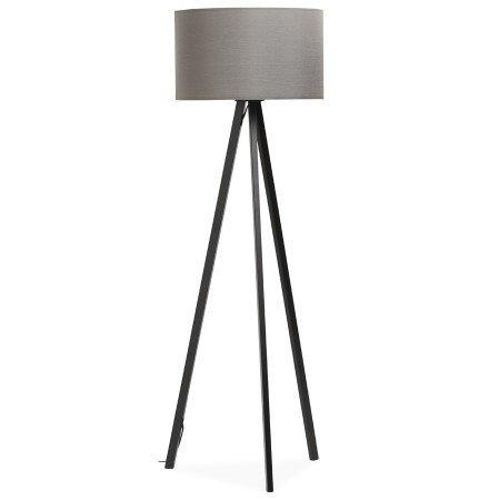 Lampadaire trépied 'SPRING' avec abat-jour gris et 3 pieds noirs