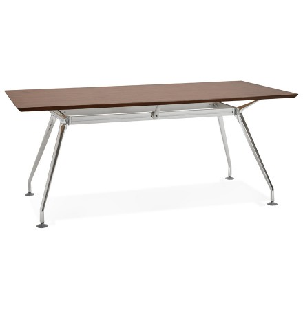 Grand bureau / table de réunion 'STATION' en bois finition Noyer - 180x90 cm