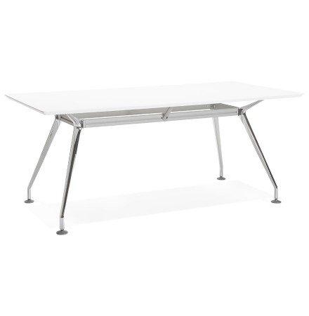Bureau / table de reunion STATION en bois peint blanc - Alterego