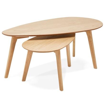 Tables gigognes design 'STOKOLM' en bois finition naturelle