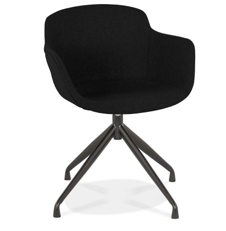 Chaise design avec accoudoirs 'SWAN' en tissu noir
