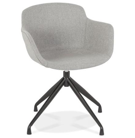 Chaise design avec accoudoirs 'SWAN' en tissu gris