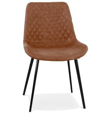 Chaise design 'TAICHI' en microfibre brune et pieds en métal noir