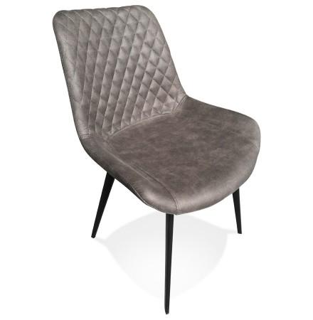 Chaise design 'TAICHI' en microfibre gris foncé et pieds en métal noir