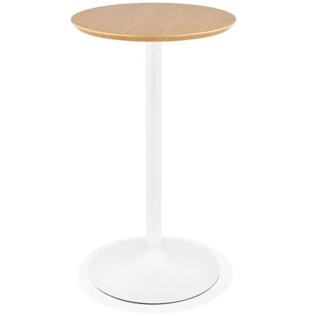 Table haute ronde 'TAMAGO' en bois finition naturelle et métal blanc - Ø 60 cm
