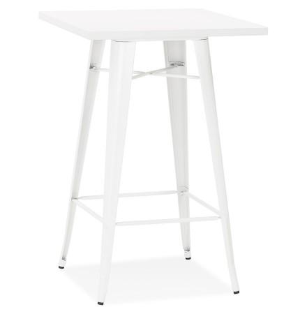 Table haute style industriel 'TATY' blanche - 70x70 cm