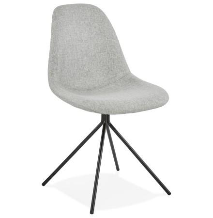 Chaise design 'TAMARA' en tissu gris avec pied en métal noir