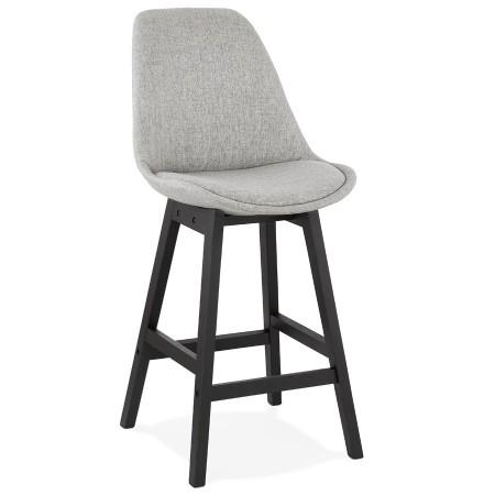 Tabouret snack mi-hauteur 'TERESA MINI' design en tissu gris et pied en bois noir