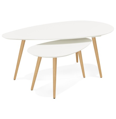 Tables gigognes design TETRYS blanches - Alterego
