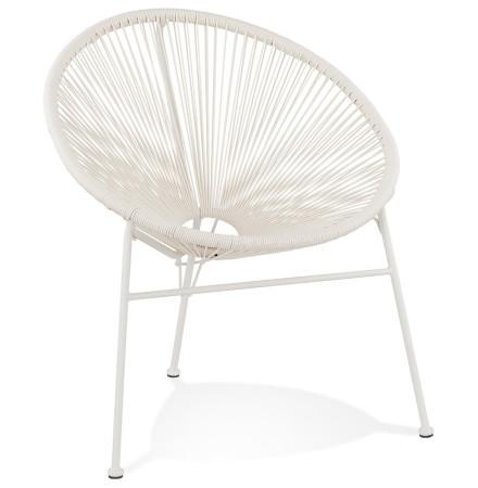 Fauteuil lounge 'TIKI' rond blanc intérieur / extérieur