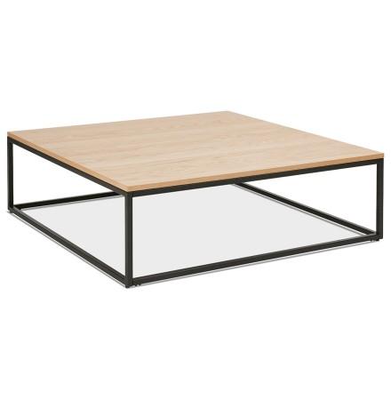 Grande table basse style industriel 'TRIBECA' en bois finition naturelle et métal noir