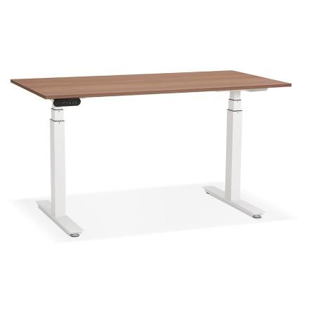 Bureau assis debout électrique 'TRONIK' blanc avec plateau en bois finition Noyer - 140x70 cm