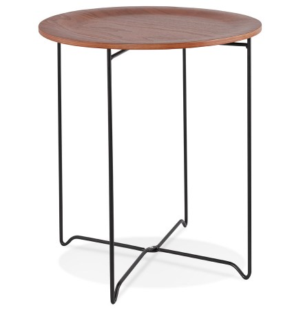 Table d'appoint design 'TSUNAMI' noire style industriel