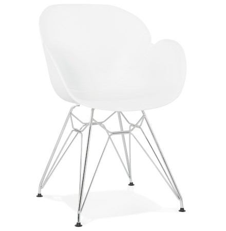 Chaise moderne 'UNAMI' blanche en matière plastique avec pieds en métal chromé