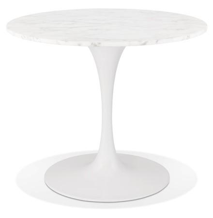 Table à dîner ronde 'URSUS' en pierre blanche effet marbre et métal blanc - Ø 90 cm