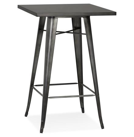 Table haute 'VADOR' en métal gris foncé - 70x70 cm