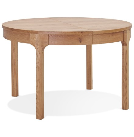 Table de salle à manger ronde extensible 'VINUS' en bois finition naturelle - Ø 120(180)x120 cm